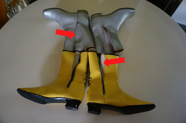yellow patent vinyl gogo boots silver space age annees 60 70 1960 1970 60s 70s mod twiggy