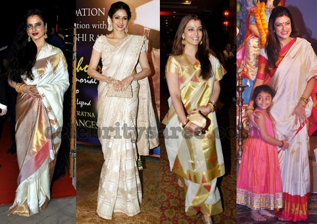 Top Actresses in Off White Silk Sarees