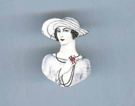 Art Deco Woman Brooch