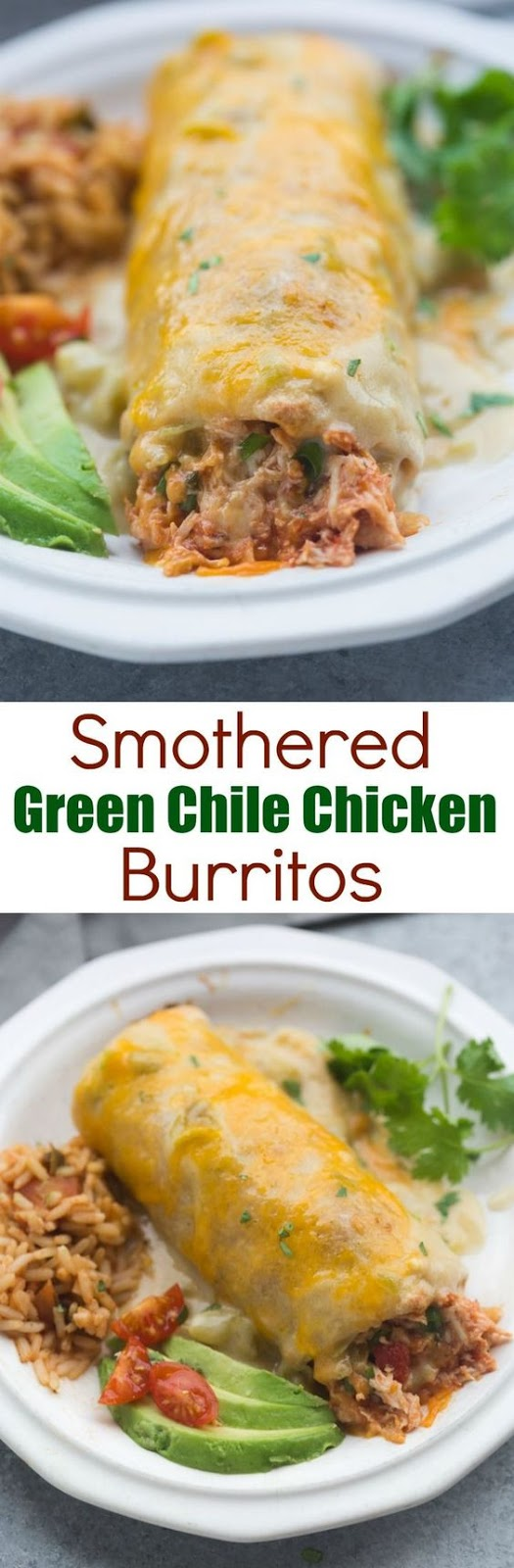 SMOTHERED GREEN CHILE CHICKEN BURRITOS