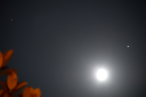 A photo I took of the Moon, Saturn and Jupiter in the night sky...on August 28, 2020.