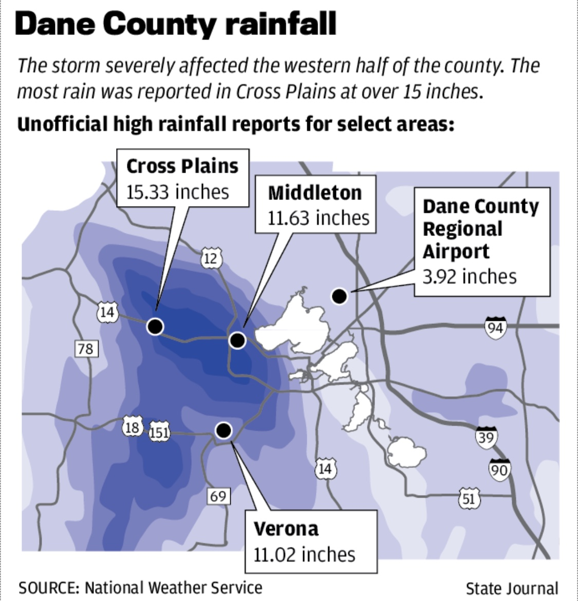 rainfall map found at damage widespread 1 dead after record rainfall causes flash flooding in dane county wisconsin state journal 8 22 2018