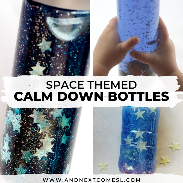 Space themed calming bottles for autism