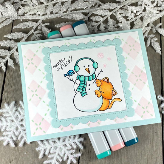 Naughty or Nice Kitty and Snowman Card by Jen Hartsgrove | Newton's Curious Christmas Stamp Set and Argyle Stencil Set by Newton's Nook Designs #newtonsnook #handmade