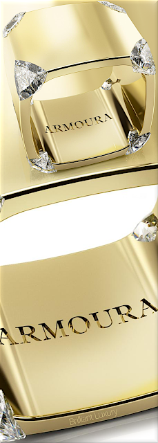 ♦Armoura award-winning Trilliant diamond ring in 18k yellow gold with eight trilliant-cut diamonds #jewelry #armoura #brilliantluxury