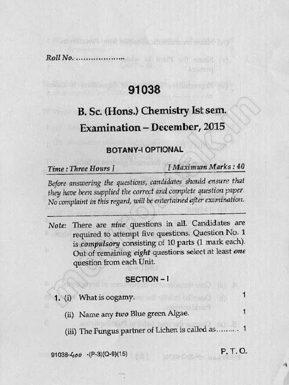 Download BOTANY - 1 Optional - Question paper - B.Sc. (Hons.) - Chemistry - 1st semester - for free