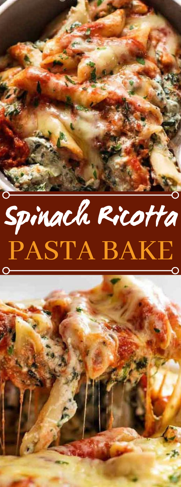 Spinach Ricotta Pasta Bake #dinner #pasta