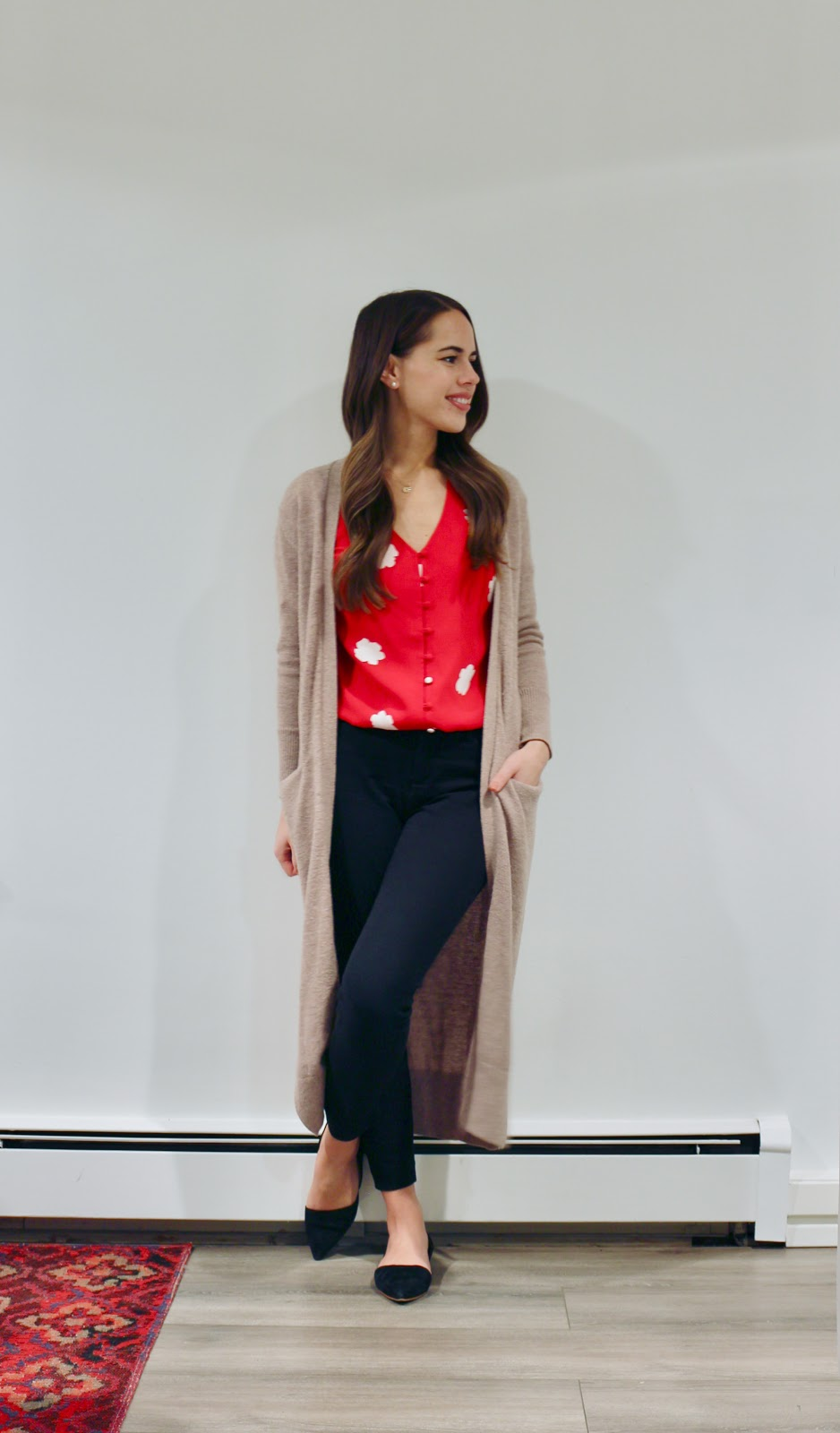 Jules in Flats - Red Floral Blouse + Duster Cardigan (Business Casual Winter Workwear on a Budget)