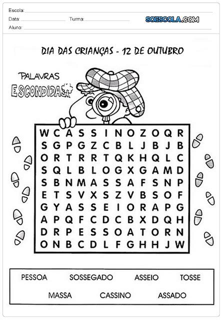 Baixe ou Imprima Atividades Dia das Crianças