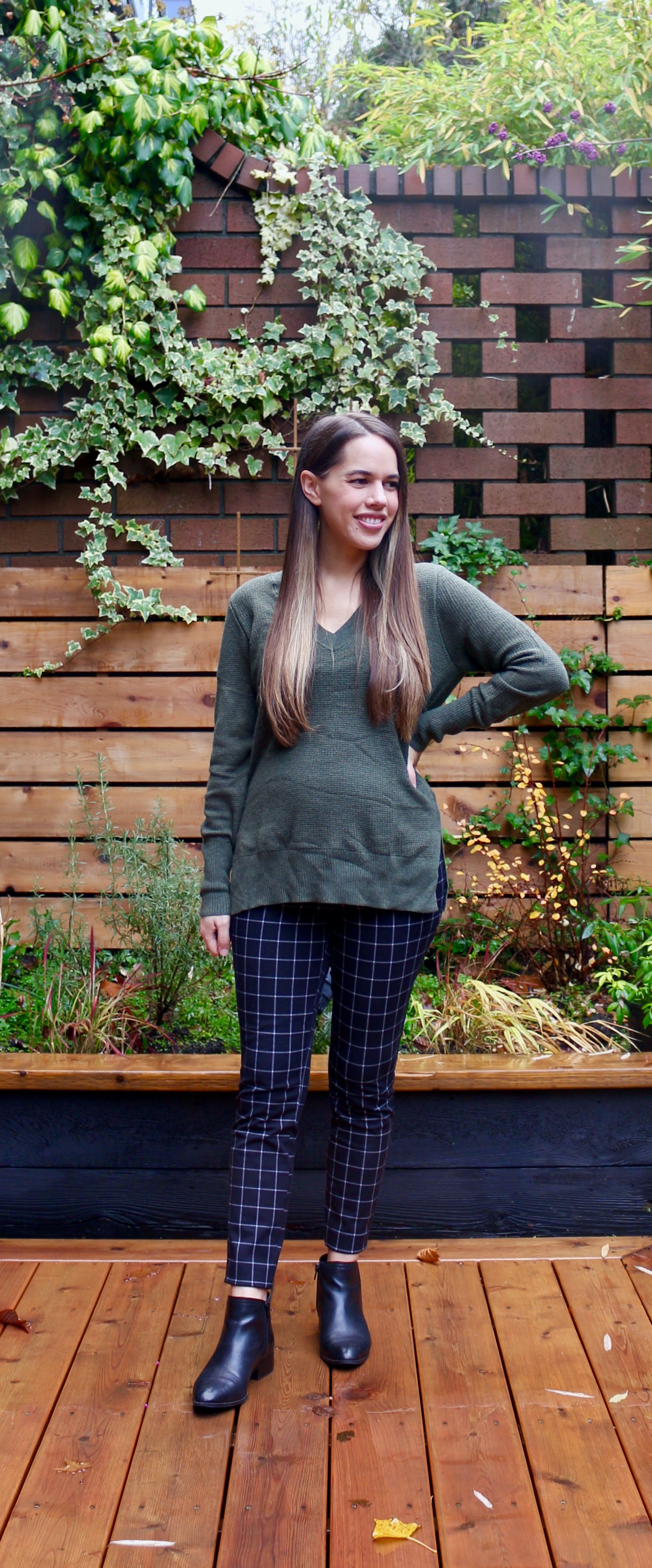 Jules in Flats - Gap True Soft V-Neck Sweater with Pixie Maternity Windowpane Pants (Business Casual Workwear on a Budget)