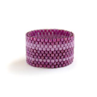 купить женское кольцо фиолетовое бижутерия из бисера интернет магазин