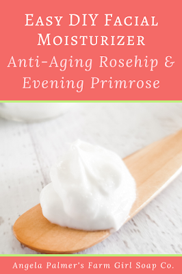 Learn how to make a DIY anti-aging facial moisturizer with this step-by-step recipe. This Rosehip and Evening Primrose DIY facial moisturizer is as luxurious as a pricey store-brand product and you can make it for pennies. By Angela Palmer @ Farm Girl Soap Co.