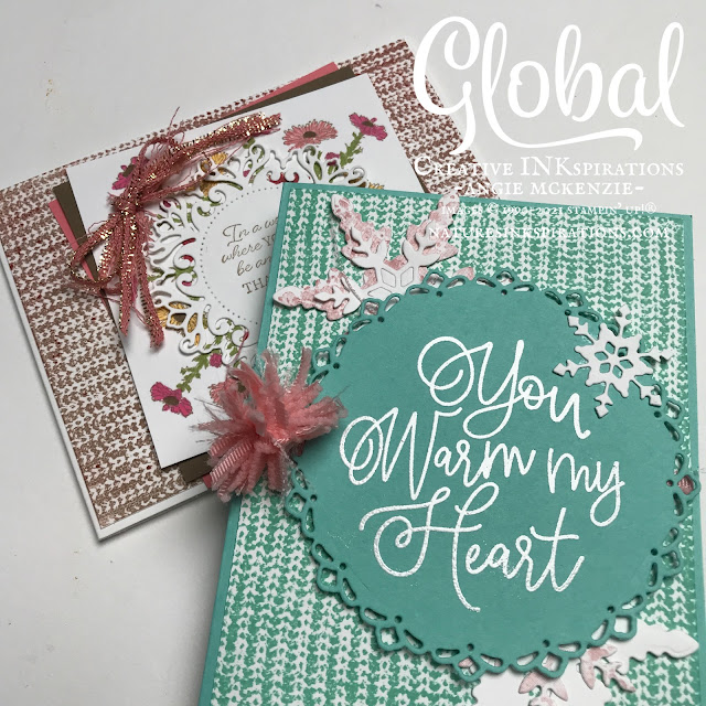By Angie McKenzie for Global Creative Inkspirations; Click READ or VISIT to go to my blog for details! Featuring the Knit Together, Nature's Harvest, Gorgeous Leaves and Encircled with Warmth Stamp Sets from the July-December 2021 Mini Catalog and the Encircled with Friendship Bundle from the 2021-2022 Annual Catalog by Stampin' Up!; #stampinup #handmadecards #naturesinkspirations #thinkingofyoucards #christmascards #knittogether #naturesharvest #gorgeousleaves #encircledwithwarmth #encircledwithfriendship #encircledwithbeauty #somanysnowflakes #frayedribbon #pompombow #ribbontechniques #JulDec2021minicatalog #20212022annualcatalog #cardtechniques #globalcreativeinkspirations #gcibloghop  #makingotherssmileonecreationatatime