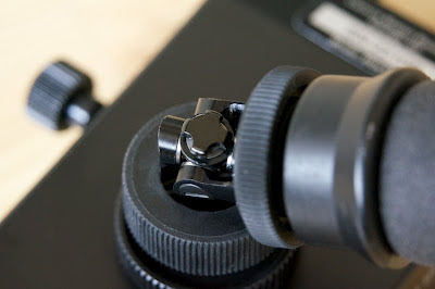 Here you see the knob to control the frictional damping of the gimbal