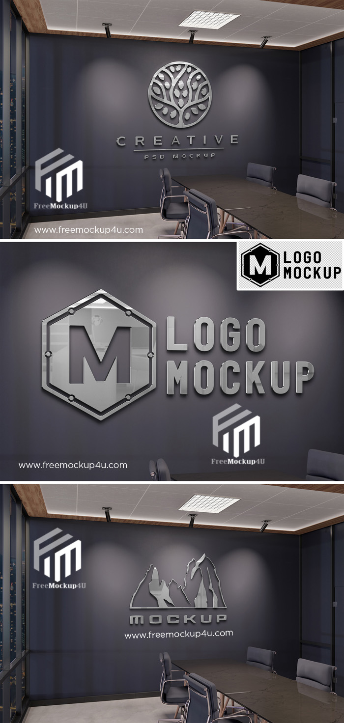 Logo Mockup on Office Wall with 3D Glossy Metal Effect