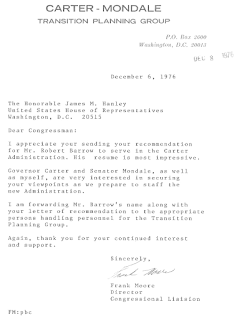 Letter from Congressional Liason Fronk Moore To Congressman James Manley Re Robert Barrow 12-6-1976