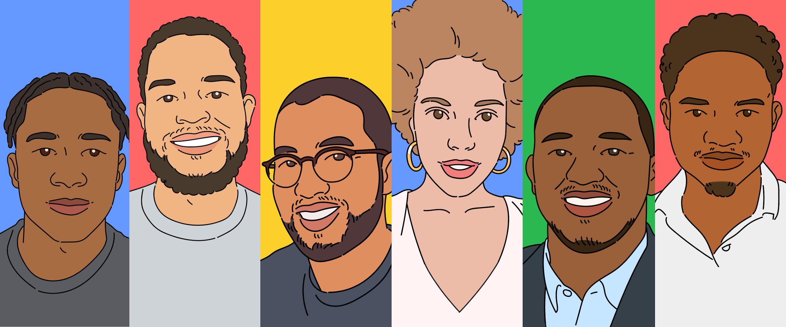 Illustration of 6 developers