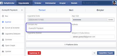 Facebook geliştici özellik ayarlarının yapılandırılması