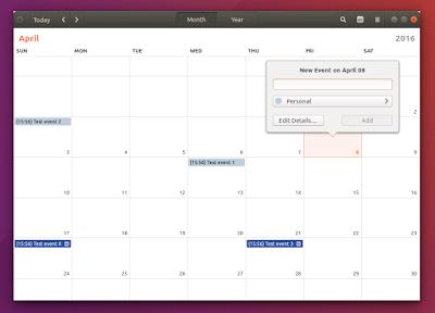 Ubuntu 16.04 Xenial Xerus screenshots gnome calendar