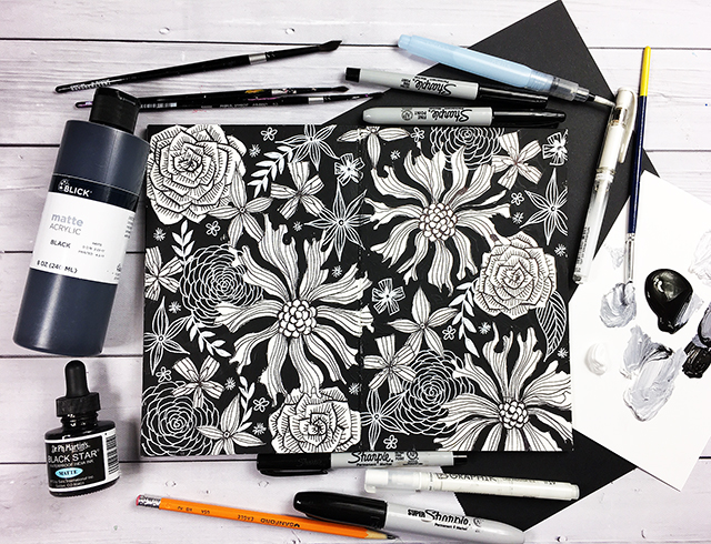 A peek inside my art journal black and white pages