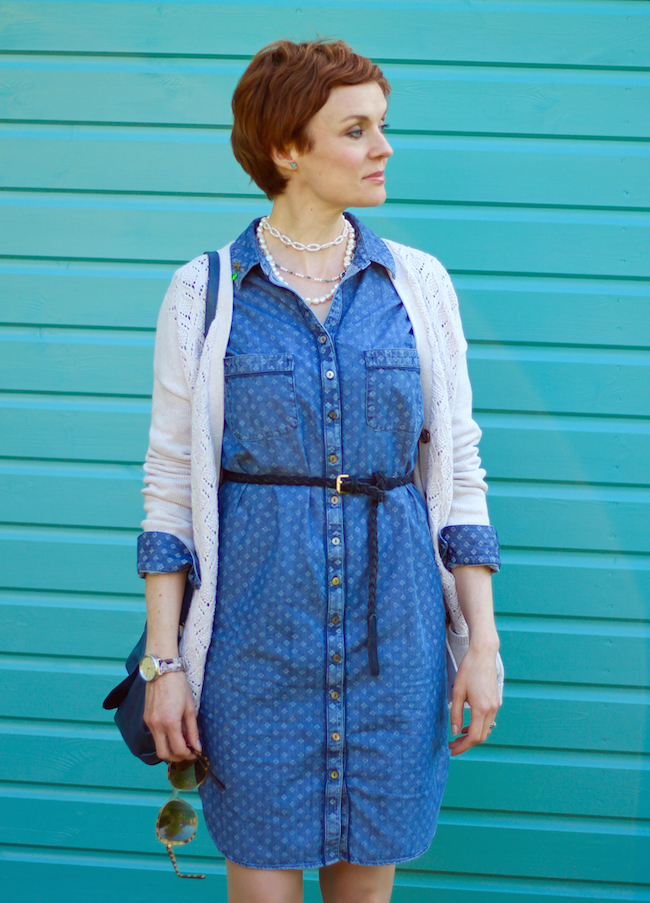Fake Fabulous | Denim shirt dress, Cream cotton cardigan, pearls Lace boots.,