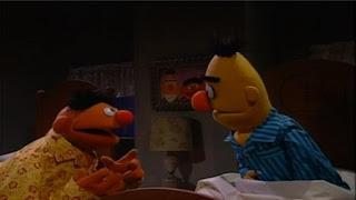 Ernie can't sleep, because he's afraid of dark shadows. Ernie and Bert sing Imagination. Sesame Street Bedtime with Elmo
