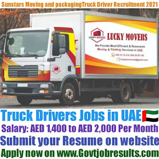 Sunstars Moving and Packaging Services Truck Driver Recruitment 2021-22