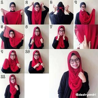 Cara Memakai Jilbab Segi Empat Wanita Kacamata