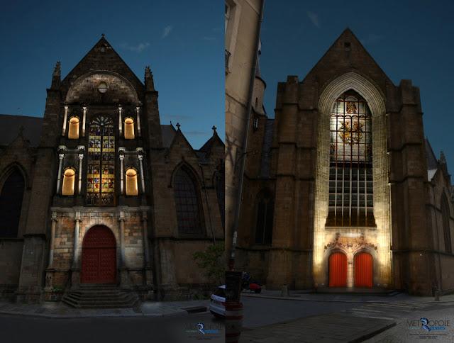 L'Église Saint-Germain mis en valeur par un éclairage intérieur (pour les vitraux) et extérieur (pour les volumes)...