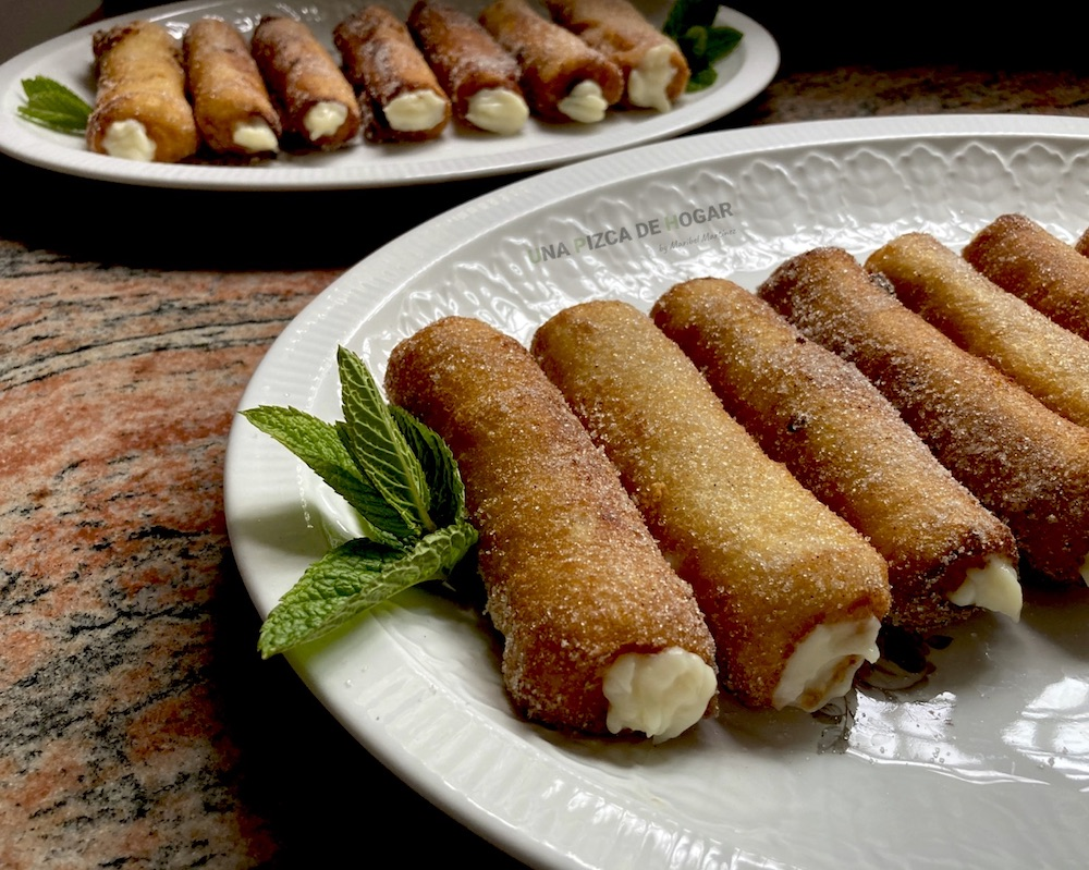 Receta de torrijas con crema pastelera enrolladas