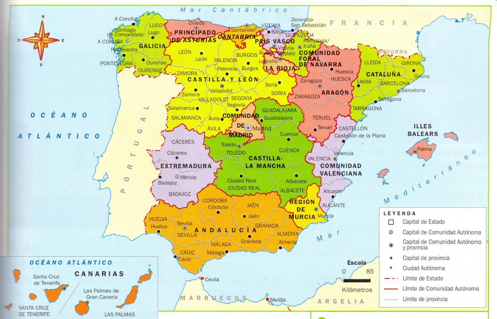 Mapa De España Actualizado.Mapas De Espana Para Descargar E Imprimir Completamente