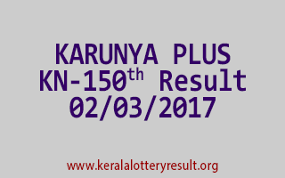 KARUNYA PLUS Lottery KN 150 Results 2-3-2017
