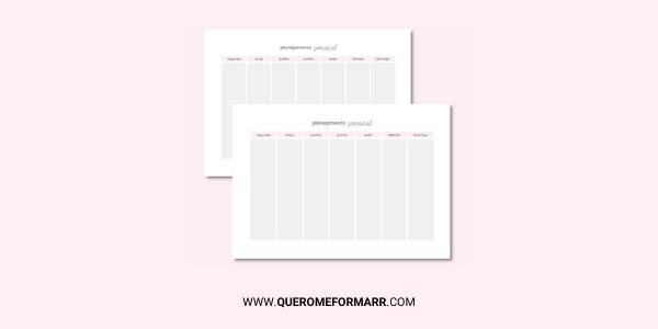 Planner Semanal Gratuito e Personalizado para Download e Impressão