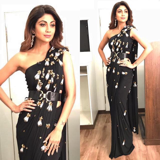 Shilpa Shetty wearing a black saree