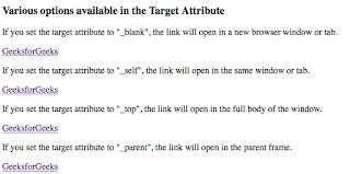 menggunaan atribut target untuk menentukan metode kemunculan halaman baru pada tag link html