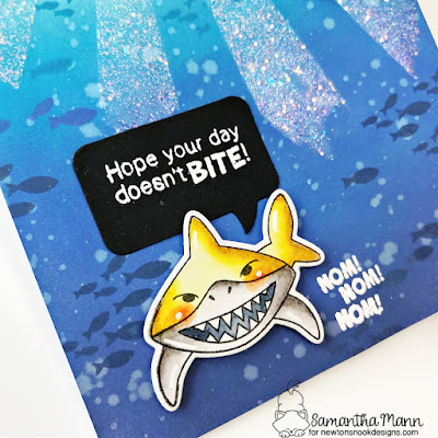 Hope Your Day Doesn't Bite Card by Samantha Mann for Newton's Nook Designs, Shark, Sunscape Stencil, Heat Embossing, Die Cuts, Distress Inks, Ink Blending, #newtonsnook #newtonsnookdesigns #distressinks #distressoxide #birthday #shark
