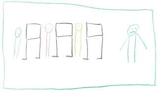 Drei Nixklusionsmännchen vor Stellwänden, eins daneben, das traurig guckt.