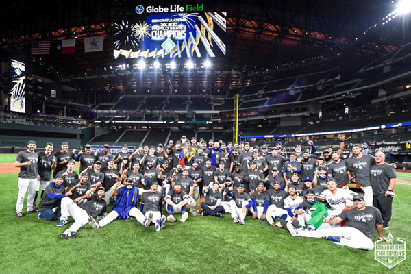 The Los Angeles Dodgers take a group photo at Globe Life Field in Arlington, Texas...following their Game 6 World Series victory against the Tampa Bay Rays on October 27, 2020.