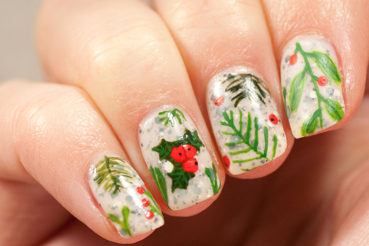 Christmas Greens Nail Art Design - Festive Manicure