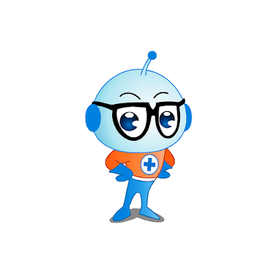 A cartoon alien with an antenna in the middle of his head and wearing glasses.