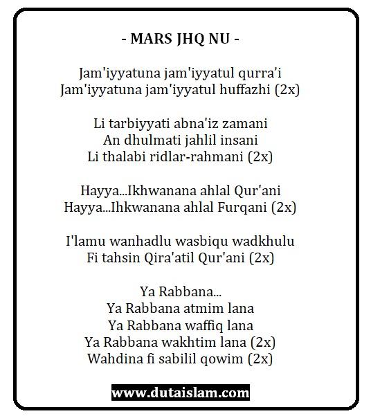 lirik hymne teks jhq nu dari ranting sampai pusat