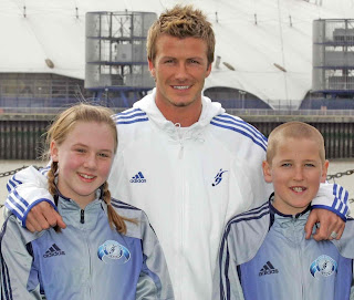 Katie Goodland & Harry clicking picture with David Beckham at young age