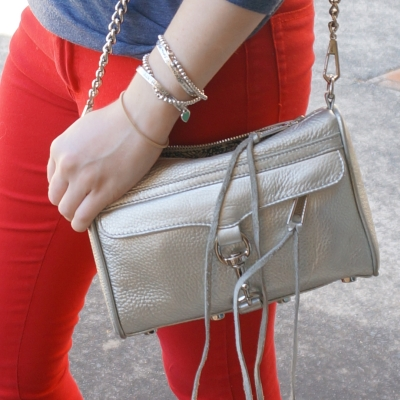 red skinny jeans, Rebecca Minkoff metallic silver mini MAC | Away From The Blue
