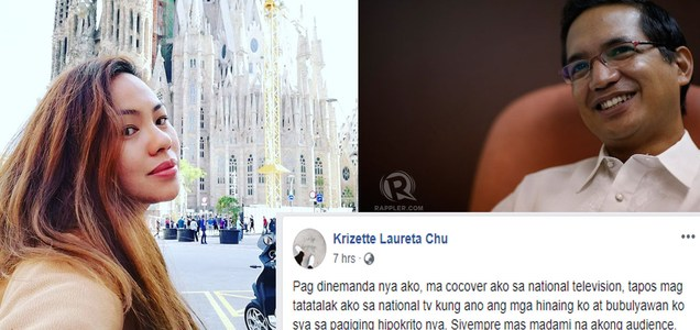 Krizette Chu says Teddy Casiño suing her for dragging his family in their social media war would be his worst nightmare. Read why! | PTN