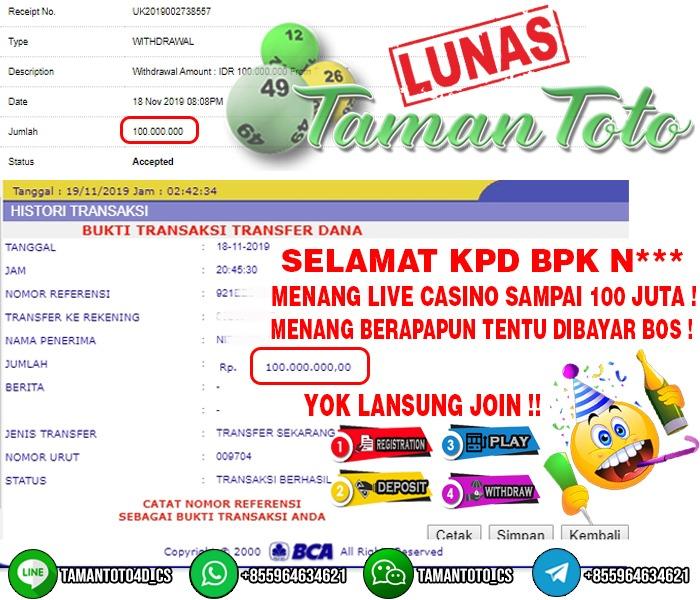 JACKPOT LIVE CASINO!!! DI BAYAR LUNAS DENGAN PROSES KILAT SEBESAR 100 JT