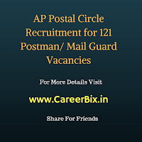AP Postal Circle Recruitment for 121 Postman/ Mail Guard Vacancies