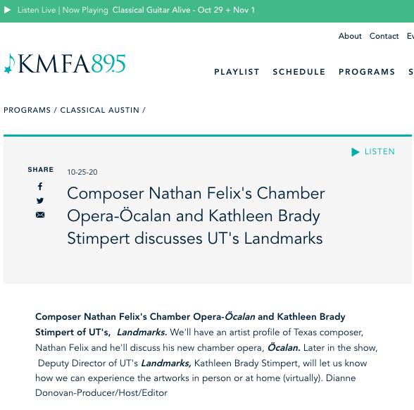 Nathan Felix KMFA Interview