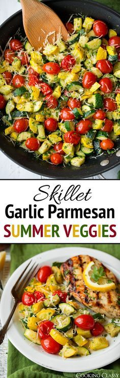 This skillet sauteed zucchini, squash and tomatoes is a simple side dish that's the perfect accompaniment to your favorite summer meals. It's deliciously flavorful thanks to the garlic and parmesan flavors and it has such a fun colorful blend. A new summer staple!