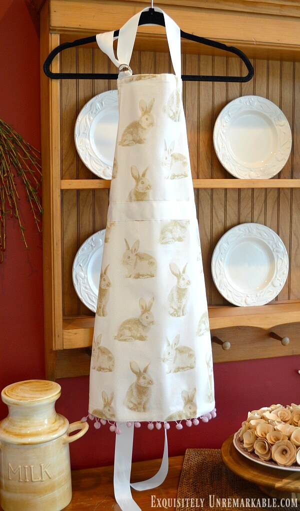 Full Size Bunny Apron From A Kitchen Towel DIY