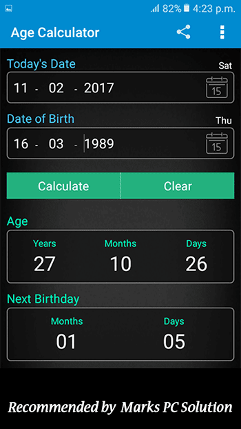 Age Calculator Screenshot